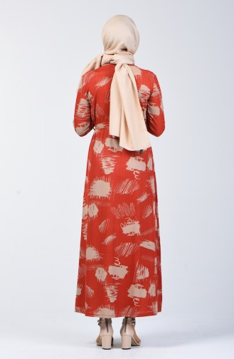 Patterned Belted Dress 1406 A-02 Brick Red 1406A-02