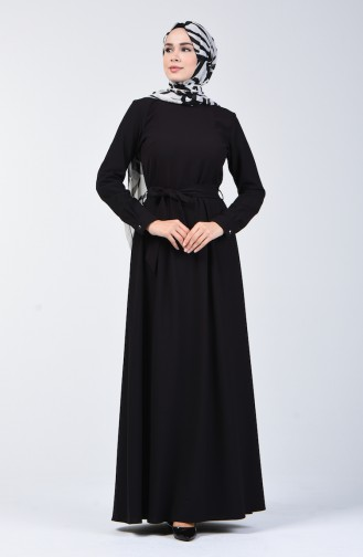 Kuşaklı Elbise 60108-01 Siyah