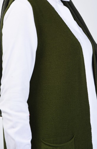 Thin Knitwear Vest with Pockets 4207-06 Khaki 4207-06
