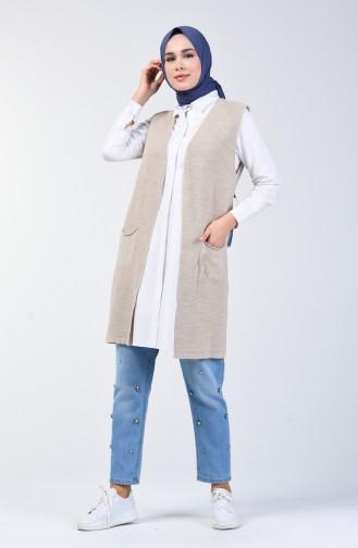 Thin Knitwear Pocket Vest 4207-08 Mink 4207-08