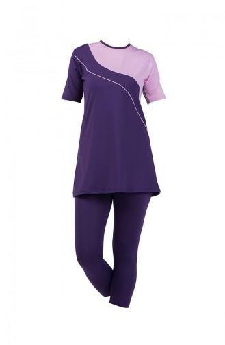 Women s Half Sleeve Pool Swimsuit 28020 Purple 28020