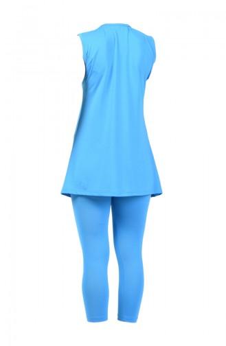 Women Non Sleeve Pool Swimsuit 28033 Blue 28033