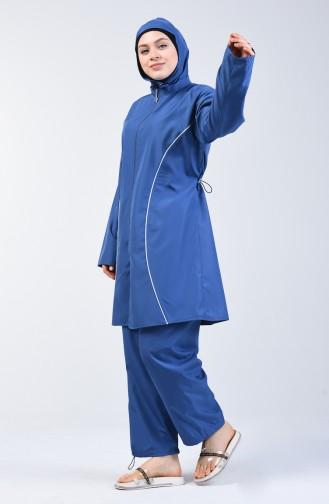 Büyük Beden Bayan Tesettür Mayo 28057 Parlament Mavi