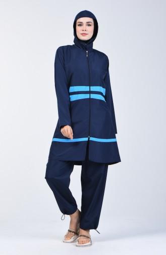 Maillot de Bain Hijab Pour Femme  28074 Bleu Marine 28074