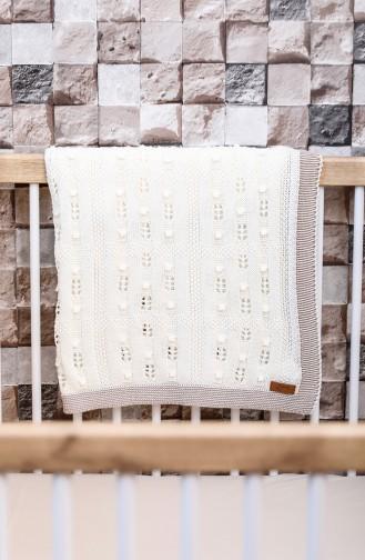 Asel Baby Blanket Ecru Beige 00001-01