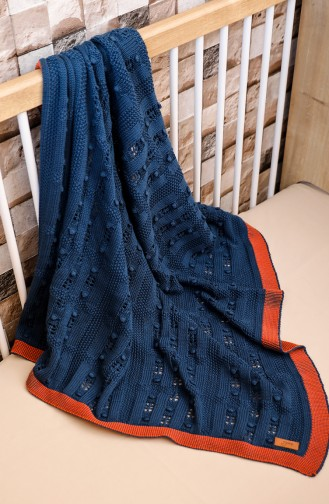 Asel Baby Blanket Navy Blue Orange 00001-04