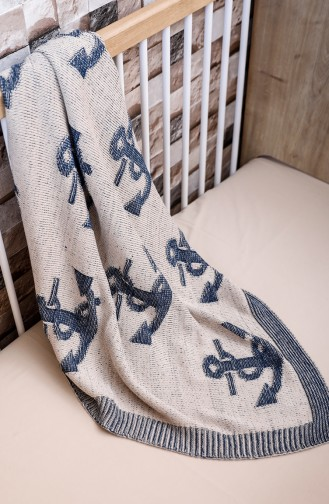 Deniz Baby Blanket Navy Blue Beige 00001-01