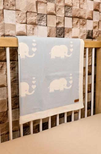 Fil Couverture Bébé 90x90 Fil00001-02 Bleu Écru 00001-02