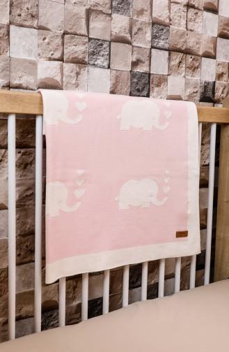 Elephant Baby Blanket 90x90 Fil00001-03 Pink Ecru 00001-03