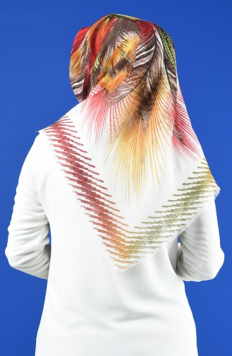 Patterned Flamed Scarf 901598-10 Ecru Yellow 901598-10