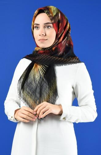 Desenli Flamlı Eşarp 901598-11 Siyah Sarı