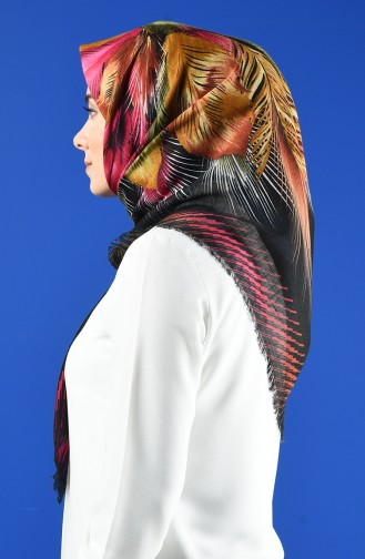 Patterned Flamed Scarf 901598-20 Black Salmon 901598-20