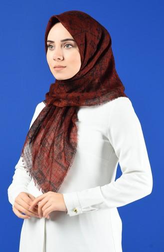 Desenli Flamlı Eşarp 901600-11 Taba