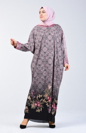 Bat Sleeve Patterned Dress 9y3931400-02 Powder 9Y3931400-02
