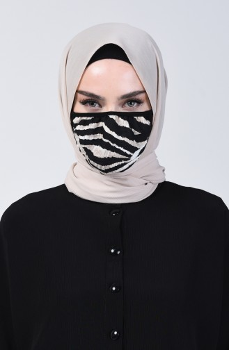 Sefamerve Face Mask Zebra Pattern 8800b-01 Black 8800B-01