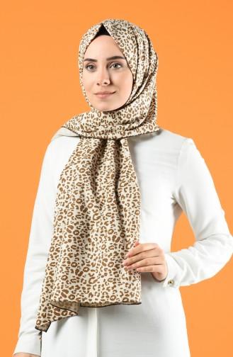Leopard Print Cotton Shawl 4650-01 Light Beige Brown 4650-01