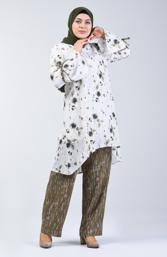Big Size Patterned Tunic Trousers Double Suit White Khaki 7944A-01