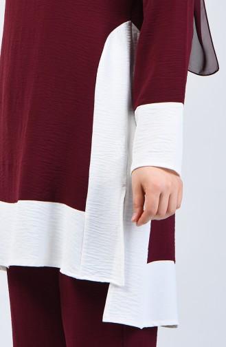 Aerobin Fabric Tunic Trousers Double Set 8327-02 Cherry 8327-02