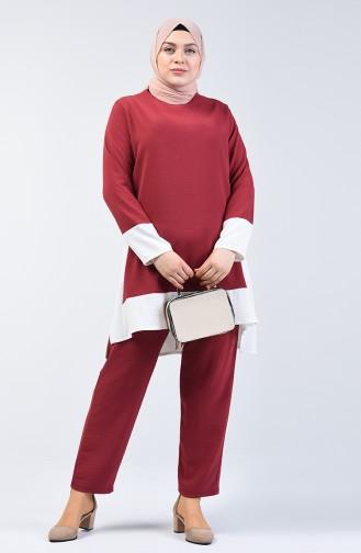 Aerobin Kumaş Tunik Pantolon İkili Takım 8327-05 Koyu Gül Kurusu