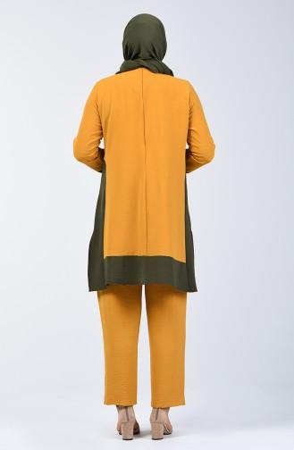 Aerobin Kumaş Tunik Pantolon İkili Takım 8327-06 Hardal 8327-06