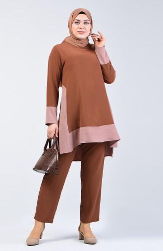 Aerobin Kumaş Tunik Pantolon İkili Takım 8327-09 Kahverengi