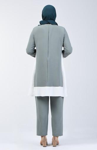 Tunika Hose aus Aerobin Stoff Zweier Anzug 8327-11 Mandelgrün 8327-11
