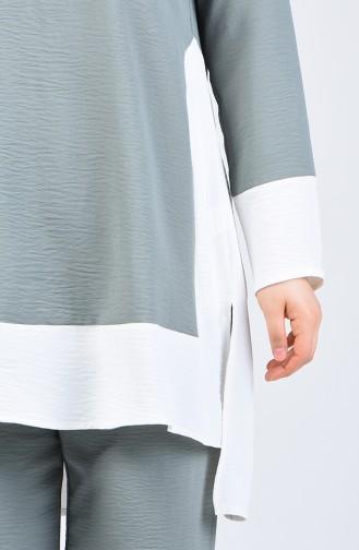 Aerobin Fabric Tunic Trousers Double Set8327-11 Almond Green 8327-11