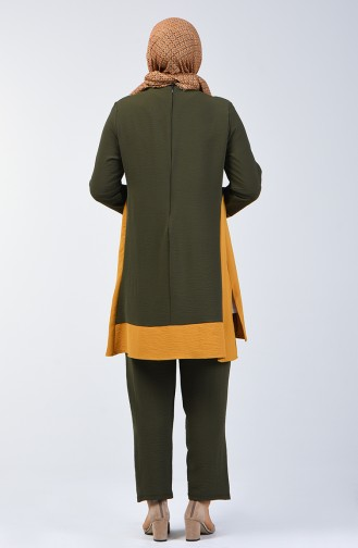 Tunika Hose aus Aerobin Stoff Zweier Anzug 8327-12 Khaki 8327-12