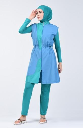 Oil Blue Swimsuit Hijab 1882-01