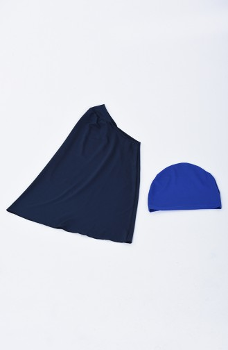 Ensemble 3 Pieces Maillot de Bain Hijab 1881-03 Bleu Marine 1881-03