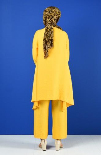 Aerobin Fabric Asymmetric Tunic Trousers Double Suit 6630-01 Mustard 6630-01