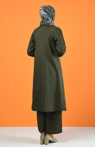 Hidden Button Tunic Trousers Double Suit6334-03 dark Green 6334-03