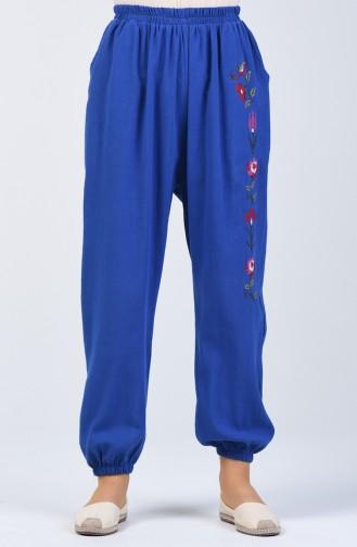 Şile Bezi İşlemeli Pantolon 0019-02 Saks