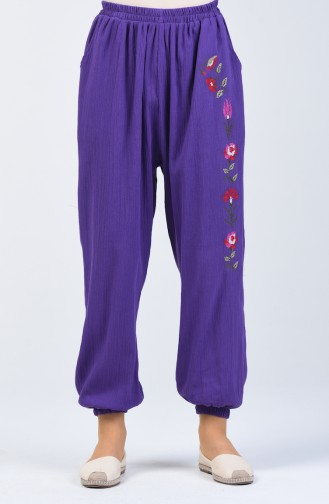 Şile Bezi İşlemeli Pantolon 0019-03 Mor