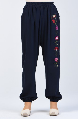 Sile Cloth Embroidered Trousers 0019-04 Navy Blue 0019-04