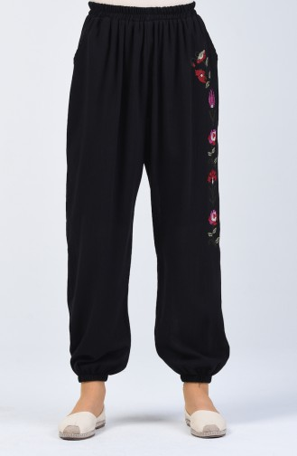 Şile Bezi İşlemeli Pantolon 0019-05 Siyah