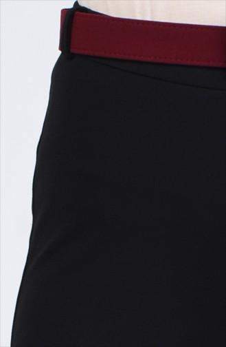 Kemerli Düz Paça Pantolon 20K1001103-05 Siyah