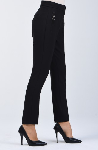 Pocket Detailed Straight Trotter Trousers 3160-01 Black 3160-01