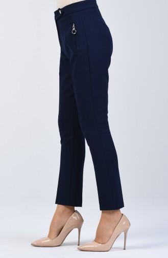 Cep Detaylı Düz Paça Pantolon 3160-02 Lacivert
