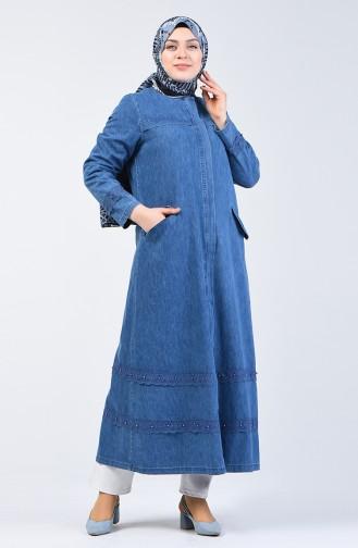 Plus Size Pearled Denim Topcoat 0404-01 Jeans Blue 0404-01