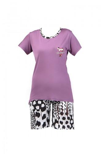 Kısa Kol Pijama Takım 0001-01 Mor