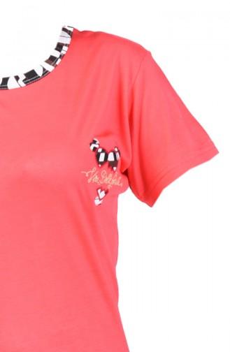 Kısa Kol Pijama Takım 0001-02 Nar Çiçeği