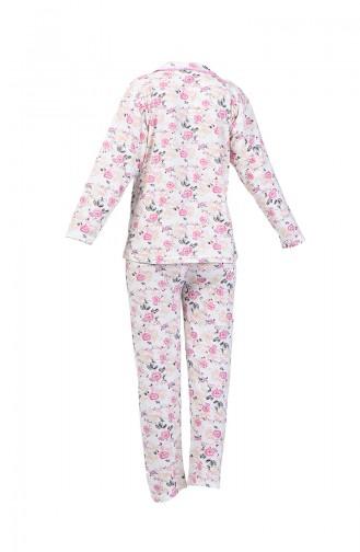 Desenli Pijama Takım 1005-02 Mürdüm Pembe