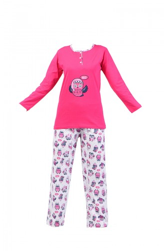Geknöpfte Pyjama Set  2300-01 Fuchsia 2300-01