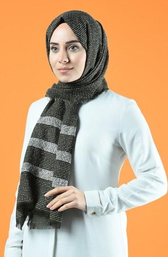 Striped Boucle Shawl 901610-03 Khaki 901610-03