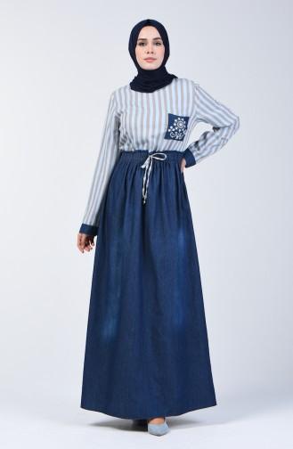 Lastikli Keten Elbise 8030-02 Vizon
