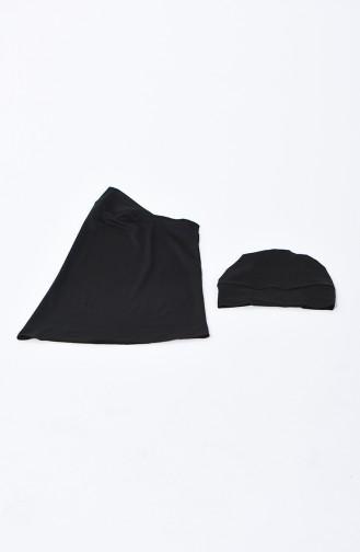 Schwarz Hijab Badeanzug 1848-02