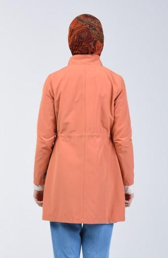 Pinkish Orange Trench Coats Models 6075-01