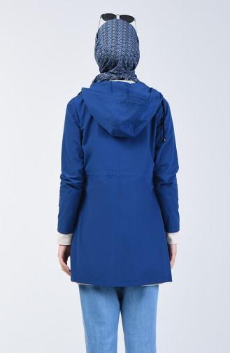Elastic Waist Short Trench Coat 6079-04 Indigo 6079-04