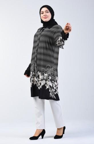 Plus Size Patterned Tunic 7168a-03 Black 7168A-03